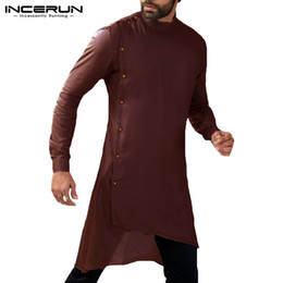 $enCountryForm.capitalKeyWord Australia - INCERUN 2019 Men Shirt Long Sleeve Button Islamic Arab Shirt Muslim Clothes Men Irregular Hem Solid Casual Shirts Kurta Suit