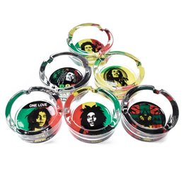 Wholesale Premium Handmade Glass Ashtray Bob Marley Skull Style Round Cigarette Ash Holder MM Smoking Accessories Hotel Table Decoration