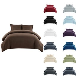 Brushed cotton Bedding set online shopping - 2019 new Bed Sheet Set Microfiber Luxury Sheets Inch brushed microfiber Solid color bedding pillow case Three piece suit