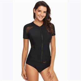 women s short sleeve swimwear 2019 - Two Piece Swimwear Women 2019 Ziper Short Sleeve Tankini Swimsuits Tankinis Set Swim Wear Black Print Bathing Suit cheap