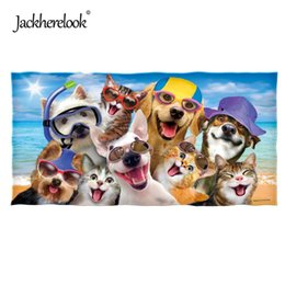 Towels For Dogs NZ - Jackherelook Cotton Swimming Towel Zoo Animal Selfie Dogs Panda 3D Print Beach Towels for Adults Super Absorbent Bath Face Towel