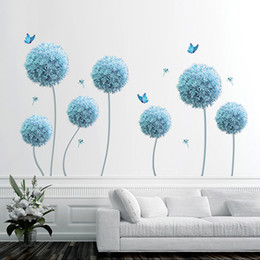 $enCountryForm.capitalKeyWord Australia - Blue Dandelion Butterfly Dragfly Wall Stickers Extra Large Wall Decals Art Living Room Bedroom Background Wall Applique Poster