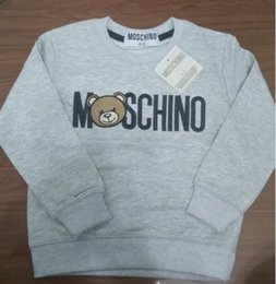 Wholesale 1 year Boys baby Cotton pullover hoodie jumper Grey letter bear kids long sleeves Fleece Sports clothes Brand clothing