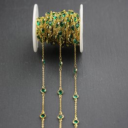 $enCountryForm.capitalKeyWord NZ - Transparent Green Glass Faceted Coin Shape Beads,Wire Wrapped Golden Plated Fashion Links Chain Necklace,6mm
