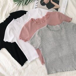 Cropped Tees Australia - 2018 Korean Summer Sexy Women Knitted Student Crop Top T-shirts Female Femme Short Sleeve Thin Short T-shirt T Shirt Tees Tops