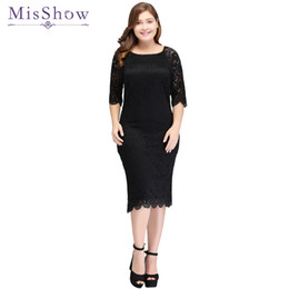 Wholesale womens little black dresses for sale – plus size Plus size Womens short cocktail dress half sleeves scoop knee length dress black lace sheath zipper up cocktail party