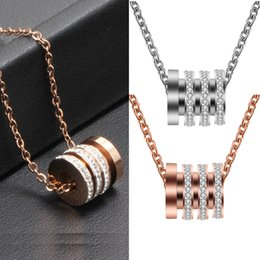 girl pendant steel Canada - Rose Gold Plated Big Titanium Steel Diamond Set Spacer Bead Pendant Chain Necklace 316L Stainless Steel Best Jewelry Gifts for Girl Friend