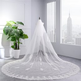 $enCountryForm.capitalKeyWord Australia - DHL Freeship Long Bridal Veils Soft Netting Two Layers White Ivory 3 Meters Wedding Veils Lace Applique Edge With Comb Bridal Accessories