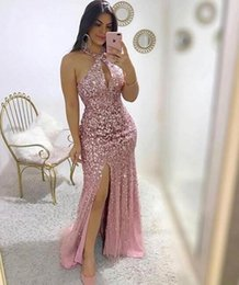 Cheap halter long dresses online shopping - 2019 sexy sheath Prom Dresses sequined sexy hater neck side split evening formal gowns custom made cheap long bridesmaid dresses