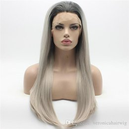 $enCountryForm.capitalKeyWord Australia - Fashion Straight Long Dark Root Grey Ombre Wig Half Hand Tied Heat Resistant Glueless Synthetic Lace Front Wigs for Women Real Pictures