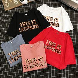 $enCountryForm.capitalKeyWord NZ - gkfnmt Summer T shirt Women Tshirt Female Vintage Cotton Plus Size Leopard Letters Print T-Shirt Women Tops Tee Shirt Femme
