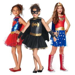 Wholesale costume wonder woman for sale – halloween Girls Costume Fancy Dress Wonder Women Batgirl Robin Supergirl Costume DC Outfit Halloween for Kids
