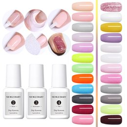 Wholesale Hot Dipping System Set Nail Art Dip Powder With Base Top Activator Brush Saver Liquid Natural Dry Without Lamp Glitter