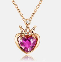crystal diamond shaped pendant Canada - Color gold necklace crown red tourmaline clavicle chain heart-shaped fashion ladies diamond pendant necklace