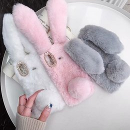 Discount black hair blue - 3D Rabbit Ear Genuine Hair Case For iPhone XR XS MAX Galaxy S10 Plus S10e A6S P30 Lite Pro Mate 20X Tail Fluffy Fur Cove