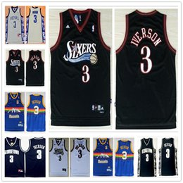 Venta al por mayor de nbspAdidas # 3 Philadelphia 76ers Jerseys de baloncesto Allen Iverson Georgetown Hoyas Jerseys Ncaa maillot nbspturnback talla S-XXL