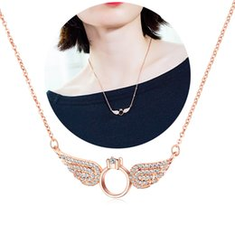 white gold angel wings necklace Australia - Women Angel Wings Pendant Necklace Ladies 18K Gold Plated Copper Jewelry Statement Collar Chain Necklaces Gift for Wife