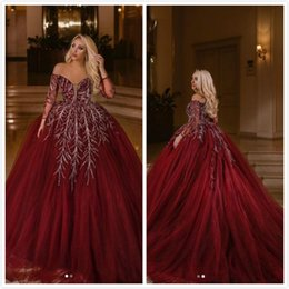Sweetheart Beaded Evening Tulle Champagne Australia - Burgundy Beaded Sexy 2019 Arabic Evening Dresses Sweetheart Long Sleeves Tulle Prom Dresses Gorgeous Elegant Formal Party Bridesmaid Gowns