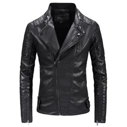 Leather Zippers Australia - New Punk Leather Jacket Men Fashion Motorcycle Leather Jacket Slim Fit Zippers Man Outerwear Jaqueta De Couro Masculina