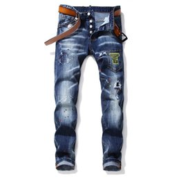 Wholesale Unique Mens Painted Ripped Slim Fit Retro Blue Jeans Fashion Designer Panelled Washed Motocycle Denim Pants Hip HOP Trousers