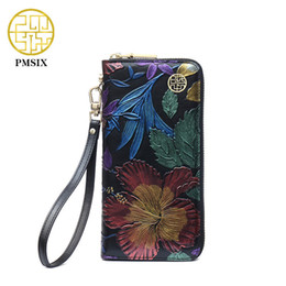 oval evening bag Australia - Pmsix 2019 New Cowhide Ladies Genuine Leather Wallets Embossed Flower Wristlet Phone Wallet Women Designer Evening Bags P410018 MX190719
