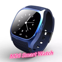 Bluetooth smart watches m26 online shopping - High quality M26 Bluetooth Sports Smart watch with Dial SMS Remind Music Player Pedometer for ios Android Smart phone