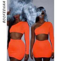 Wholesale crop top shorts skirt set resale online – BOOFEENAA Women Neon Bodycon Piece Set Summer High Street Night Out Club Outfits Matching Short Sets Crop Top Skirt