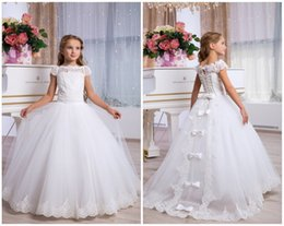 $enCountryForm.capitalKeyWord NZ - White Prom Floor Length Lace Flower Girl Dress Custom Made Girl Party Princess Brithday tutu Sleeveless Ball Gown Kids Dresses