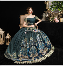 Renaissance faiRy costumes online shopping - 100 real luxury vintage blue rococo princess queen fairy cosplay ball gown royal princess Medieval Renaissance Victoria dress Belle ball