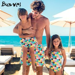 682b511ca7 Family Swimwear One-piece Swimsuit Mother And Daughter Beach Swimsuit  One-piece Swimsuit Hamburger Print Dad Son Swimming Pants Y190523