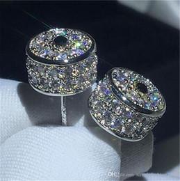 $enCountryForm.capitalKeyWord Australia - Luxury Crown Earring Blue 5A cz White Gold Filled Anniversary wedding Stud Earrings for women Best Gift