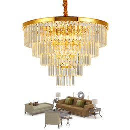 $enCountryForm.capitalKeyWord Australia - Luxury Modern Crystal Chandelier Round Living Room Chain Chandeliers Lighting Home Decoration Gold LED Pendant lamp Cristal Lustre