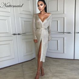 Knit Party Dress NZ - Nattemaid Autumn Stretchable Midi Sexy Dress Women Hollow Out Casual Club Dresses Elegant Party Evening Knitted Dress Vestidos