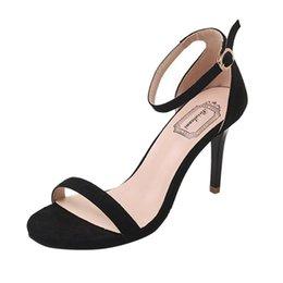 Venta al por mayor de Zapatos de vestir de diseño Moda para mujer Damas Sandalias Tobillo Tacones altos Fiesta Block Toe Tacones altos Mujer De los últimos modelos Sandalias A0503 # 30