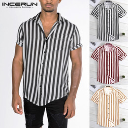 Down Tee Australia - INCERUN 2019 New Striped Shirts Casual Tee Tops Summer Male Clothing Loose Fit Turn Down Collar Button Short Sleeve Shirt Camisa