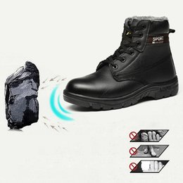 Discount mens lace up shorts - Men Boots Winter With Fur 2019 Warm Snow Boots Women's Mens Anti-Smashing Piercing Safety Work Shoes Warm Ankle Sho