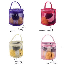 Wire crocheting online shopping - Knitting Tool Tote Baskets Plain Color Lightweight Crochet Thread Storage Mesh Bag Dustproof Home Organizers Portable lja E1