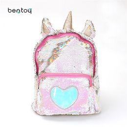 Pu Leather Book Bag Australia - New Sequins Unicorn Backpack Women Pu Leather Mini Travel Soft Bag Fashion Schoolbag For Teenager Student Girls Book Bag Satchel