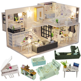 Wooden furniture for dolls houses online shopping - Cutebee Diy Dollhouse Wooden Doll Houses Miniature Doll House Furniture Kit Casa Music Led Toys For Children Birthday Gift M21 Y19070503