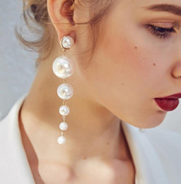 Wholesale Women Girls Big Pearl Earrings Long Dangle Drop Elegant Ear Drop Brides Bridesmaids Wedding Party Gifts Chic Jewelry