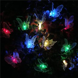 Solar Fiber Australia - 5M 20 LED Fiber Optic Butterfly Solar Power Strings LED Fairy String Light Outdoor Garden Patio Street Party Butterfly Decoration Lighting
