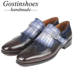 Handmade Tassel Straps Australia - GOSTINSHOES HANDMADE Goodyear Welted Mens Brogue Shoes Cow Leather Buckle Strap Tassel Brown Blue Round Toe Men Shoes Handmade SCT04