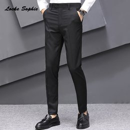 skinny trousers NZ - 1pcs Mens Plus size Pencil pants trousers 2020 Summer Fashion cotton blend stripe Splicing suit men's Skinny business trousers