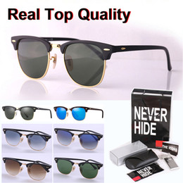 vintage aluminum glasses Canada - Top quality (Glass lens) brand sunglasses men women Metal hinge Vintage sun glasses with original box, packages, accessories, everything!