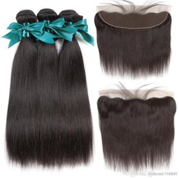 $enCountryForm.capitalKeyWord Australia - 13X4 Ear To Ear Lace Frontal Closure With Bundles Peruvian Straight Human Hair Bundles With Frontal Non-Remy Hair