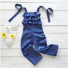 Cute girls jeans online shopping - 1 T Toddler Kids Baby Girls trousers Ruffles Denim Bib Pants Romper Cute Jeans Jumpsuit Cute fashion Streetwear Summer Outfits