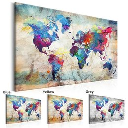 canvas wall art world map UK - 3Colors Large Size HD World Map Wall Art Pictures Painting Wall Art for Living Room Home Decor (No Frame)