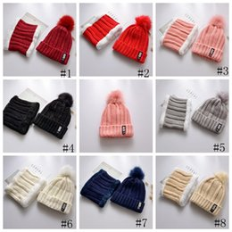big fur ball NZ - B Letters Knitted Hat Big Fur Pom Poms Ball Knitted Hats Neck Scarf Set Women Beanie Caps Winter Warm Cap new GGA2789