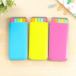 Wholesale Mini Stationery Australia - 5colors box Candy color highlighter pen set Mini fluo markers Stationery office School supplies Caneta fluorescente