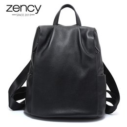 Fashion Laptop Backpacks For Women Australia - Zency Anti-theft Women Backpack 100% Genuine Leather Black Travel Bag Big Schoolbag For Girls Fashion Female Knapsack Laptop Y19061204